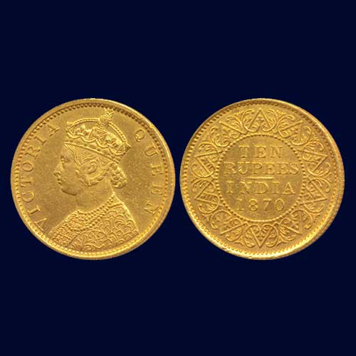 Victoria-Queen-Gold-Proof-10-Rupees-Listed-For-INR-6,00,000