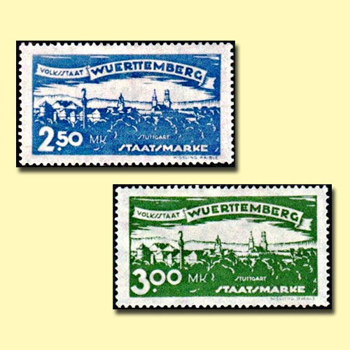 Views-of-Stuttgart-on-Wurttemberg-Stamps