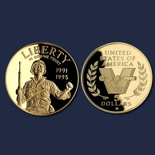 World-War-II-50th-Anniversary-Gold-5-Dollar
