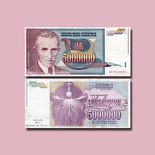 Yugoslavia-5000000-Dinara-banknote-of-1993