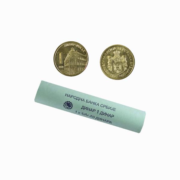 Serbia 1 Dinar Mint Roll 50 Coins