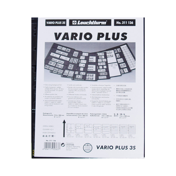 Lighthouse Plastic Pockets VARIO PLUS - Extra strong film - 3 way division - Black