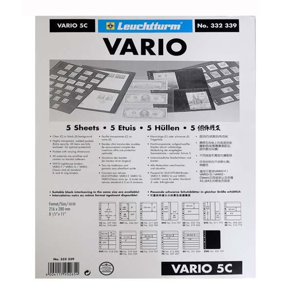 Lighthouse Plastic Pockets VARIO 5-way division- clear film