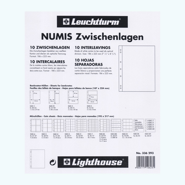 Lighthouse Plastic Sheets NUMIS - Interleaves - White