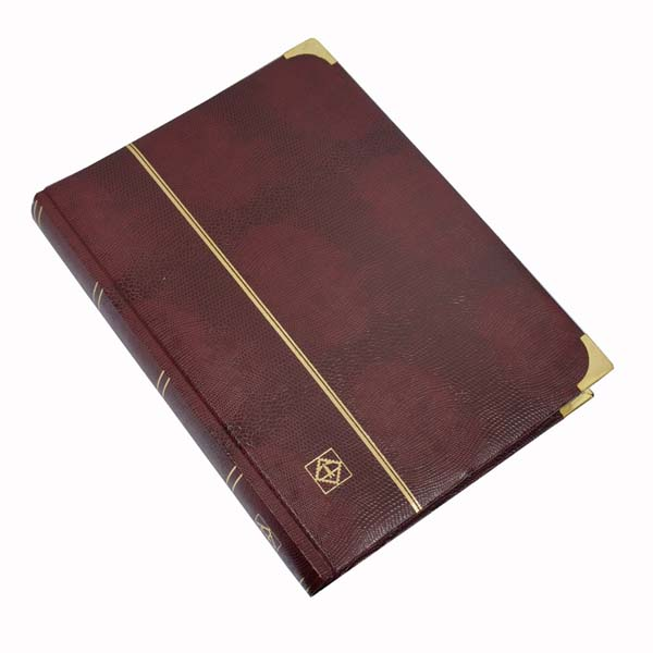 Lighthouse Deluxe Stamp Stockbook A4 - 64 Black Pages - Padded Cover - Crocodile Leather Look - Red