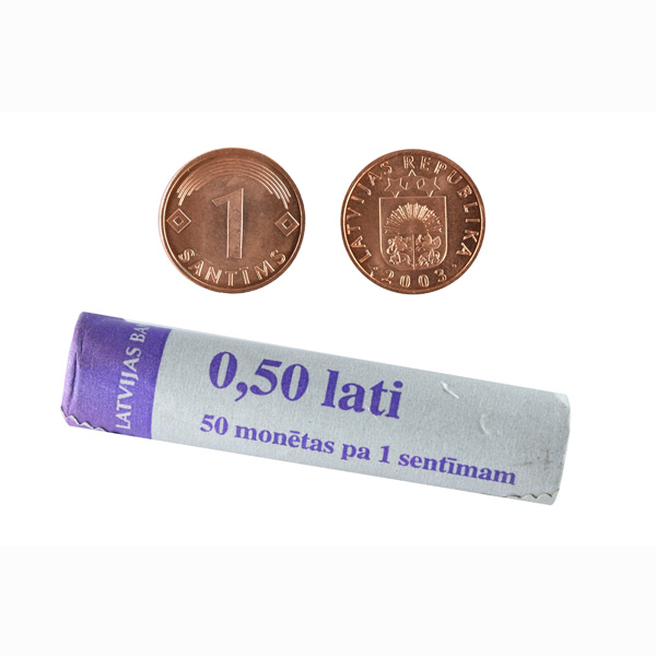 Latvia 1 Santims Mint Roll - 50 coins