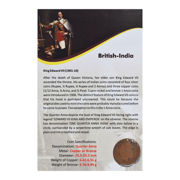 British India King Edward VII Quarter Anna 1910 Calcutta