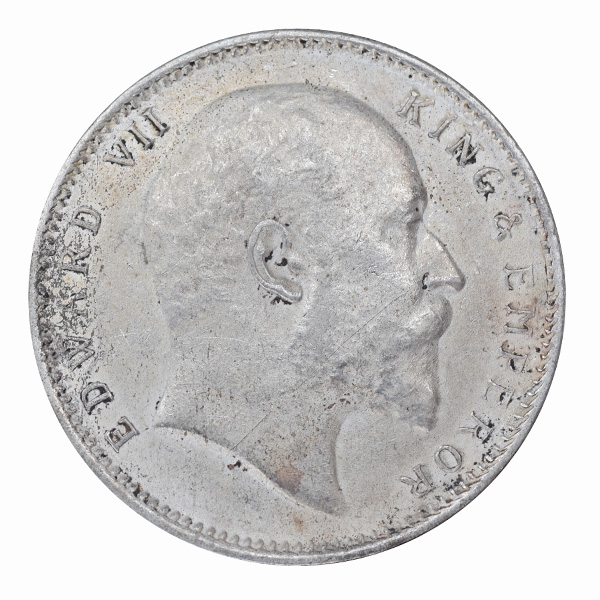 British India King Edward VII One Rupee 1909 Calcutta