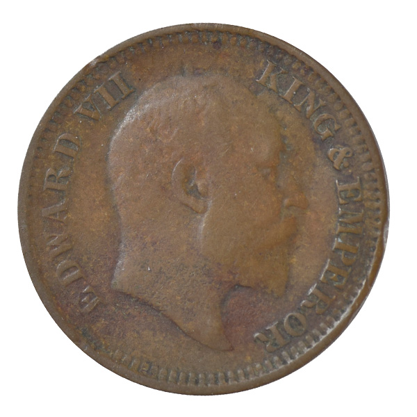 British india King edward VII - 1/2 Pice Coin 1907 calcutta