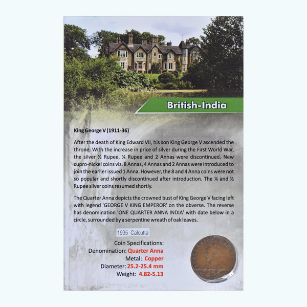 British India King George V Quarter Anna 1935 Calcutta