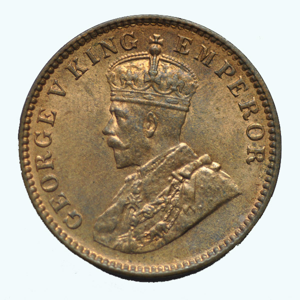 British India King George V Quarter Anna 1935 Calcutta