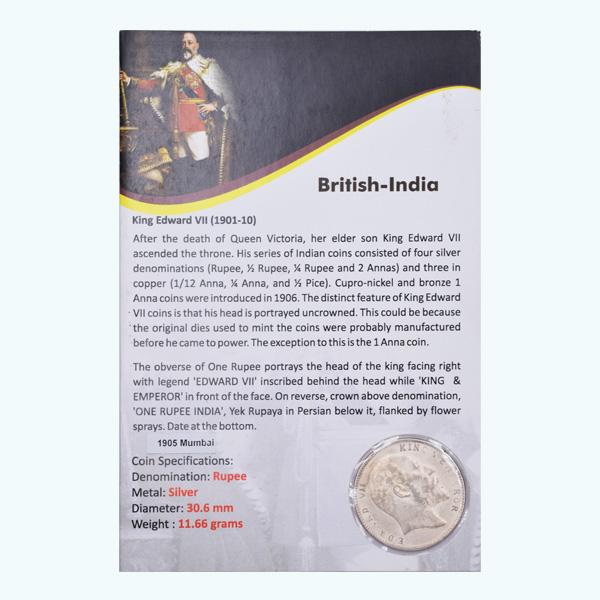 British India King Edward VII One Rupee 1905 Bombay