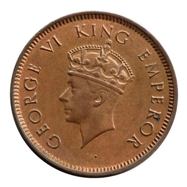 British India- King George VI Quarter Anna Coin 1940 Bombay