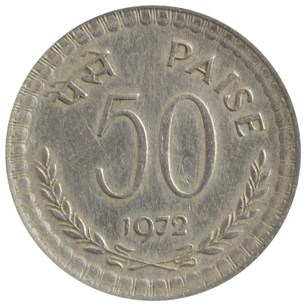 Republic India 50 Paise Coin 1972 Kolkata Mint