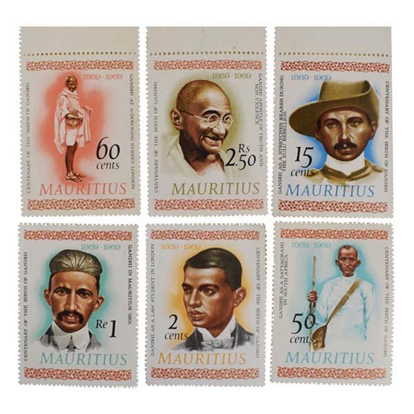 Mahatma Gandhi Postage Stamp -Set of 6 stamps of Mauritius