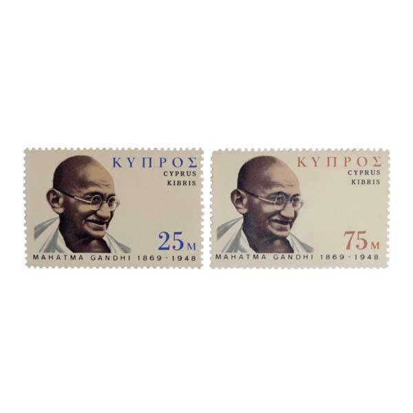 Mahatma Gandhi Postage Stamp - Set of 2 Stamp of Cyprus