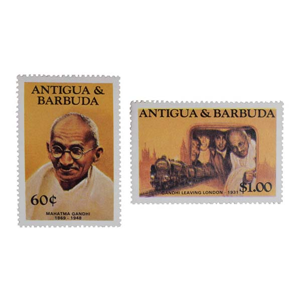 Mahatma Gandhi Postage Stamp - Set of 2 Stamp of Antigua & Barbuda