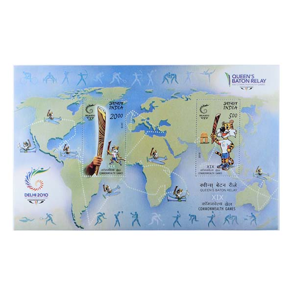 Queens Baton Relay Miniature Sheet - 2010
