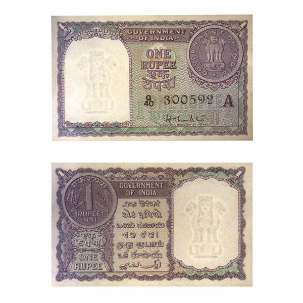 1 Rupee Note of 1951- H. M. Patel- A to G Prefix