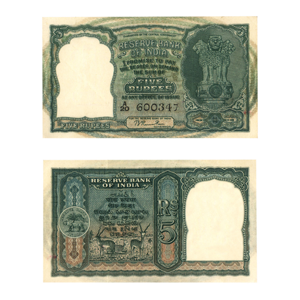 5 Rupees Note of 1949- 3 Blackbucks