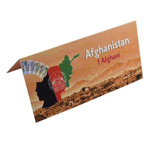 Afganistan 1 Afghani Description Card  with original Banknote