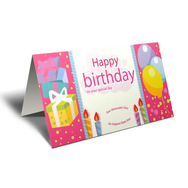 Greeting Card with Currency Note of Your Birth Date