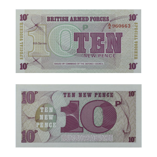 British Armed forces 10 New Pence Note