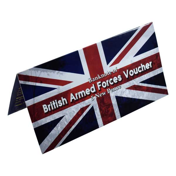 British Armed Forces Five Pence Voucher Description Card with Original Banknote