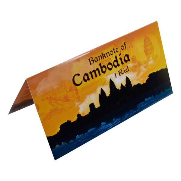 Cambodia 1 Riel Description Card with Original Banknote