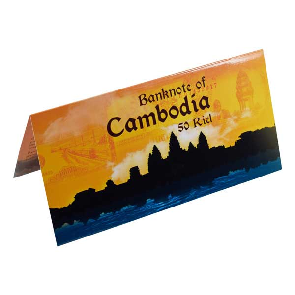 Cambodia 50 Riel Description Card with Original Banknote