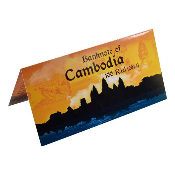 Cambodia 100 Riel (2014) Description Card with Original Banknote