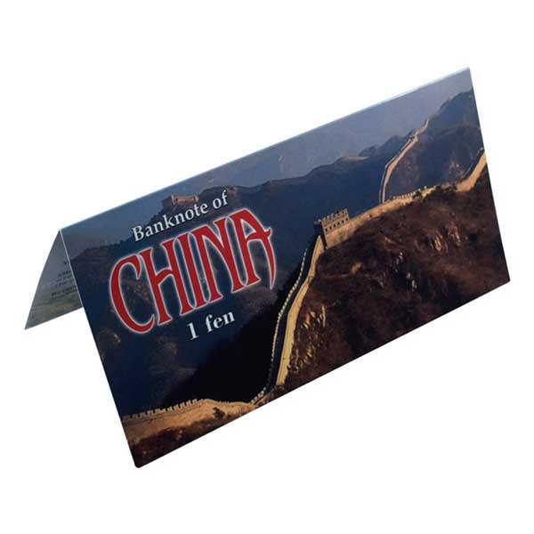 China 1 Fen Description Card with Original Banknote