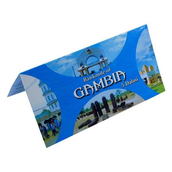 Gambia 5 Dalasi Description Card with Original Banknote