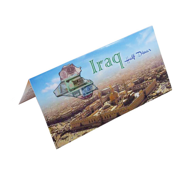 Iraq Half Dinar Description Card with original Banknote