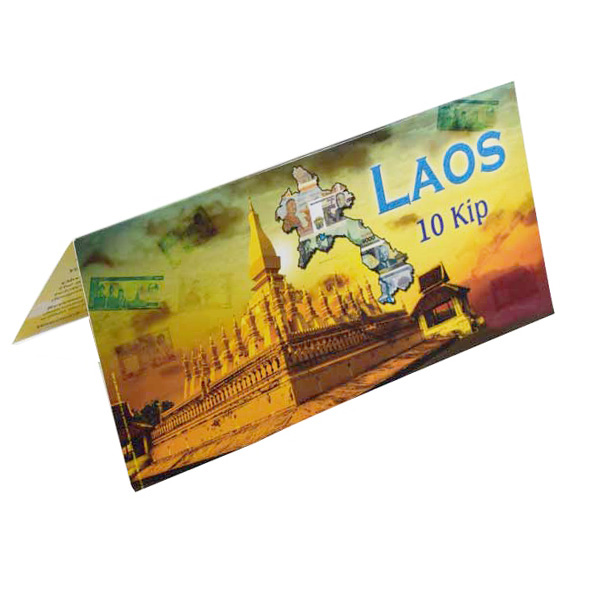 Laos 10 Kip Description Card with original Banknote