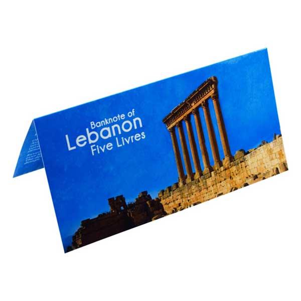 Lebanon 5 Livres Description Card with Original Banknote