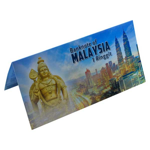 Malaysia 1 Ringgit Description Card with Original Banknote