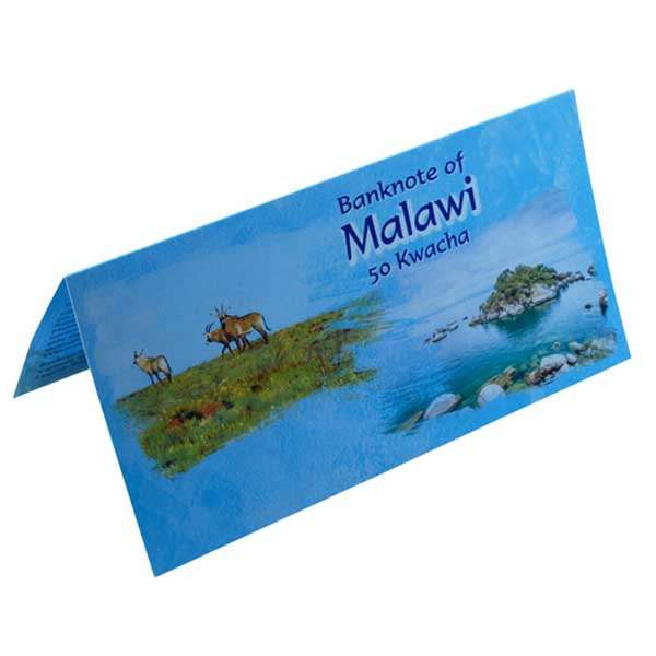Malawi 50 Kwacha Description Card with Original Banknote