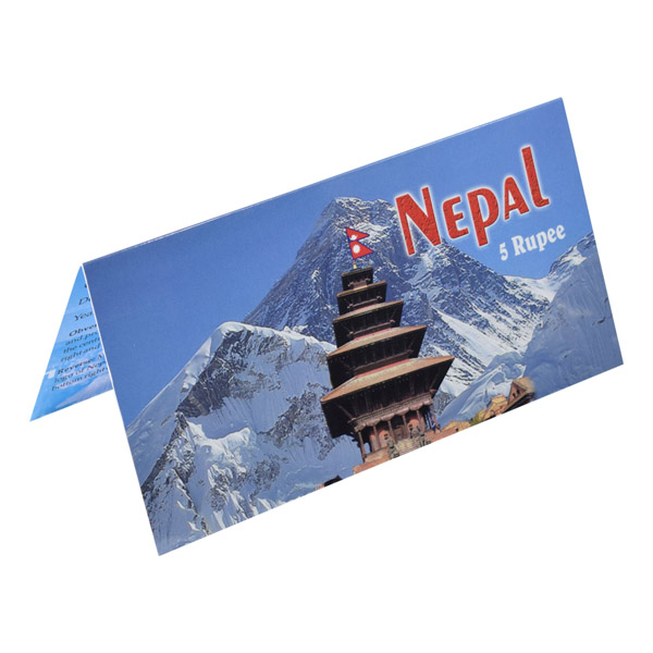 Nepal 5 Rupee Description Card with original Banknote