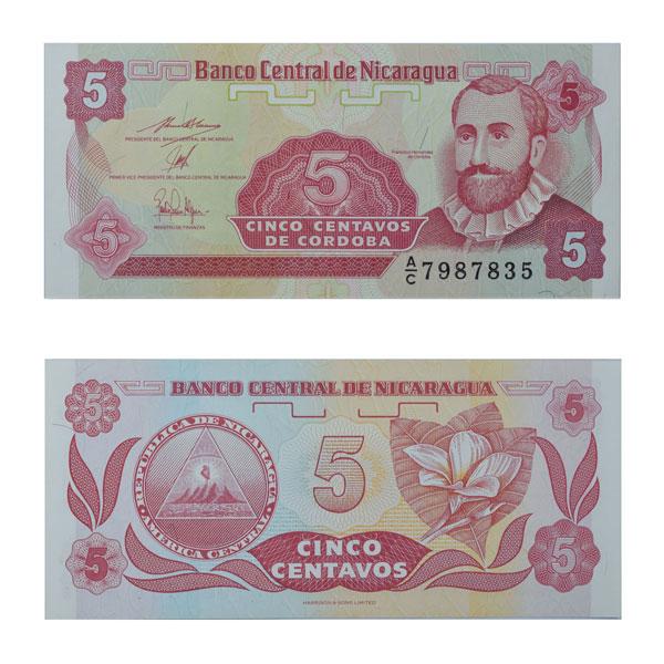 Nicaragua 5 Centavos Note