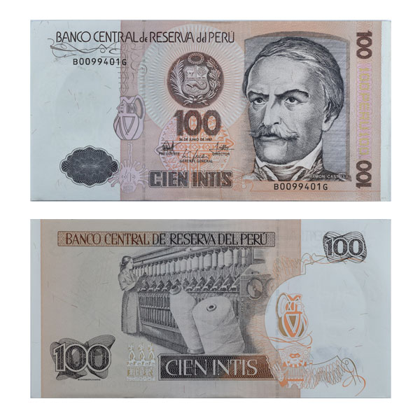 Peru 100 Intis Note