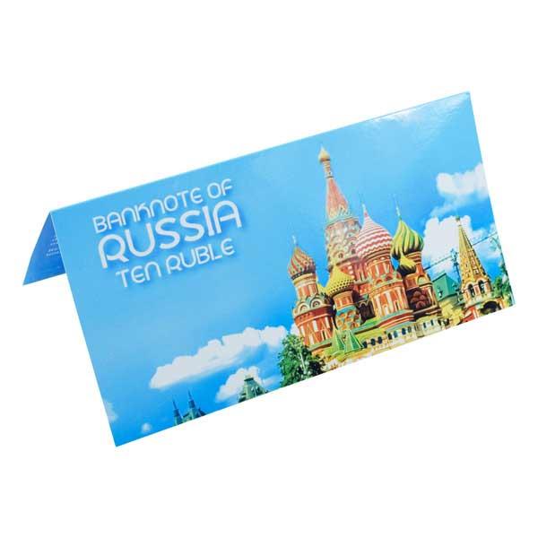 Russia 10 Ruble Description Card with Original Banknote