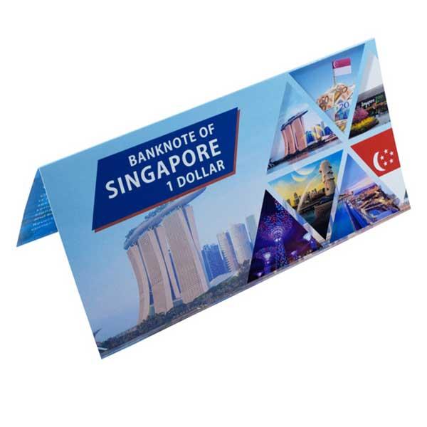 Singapore 1 Dollar Description Card with Original Banknote