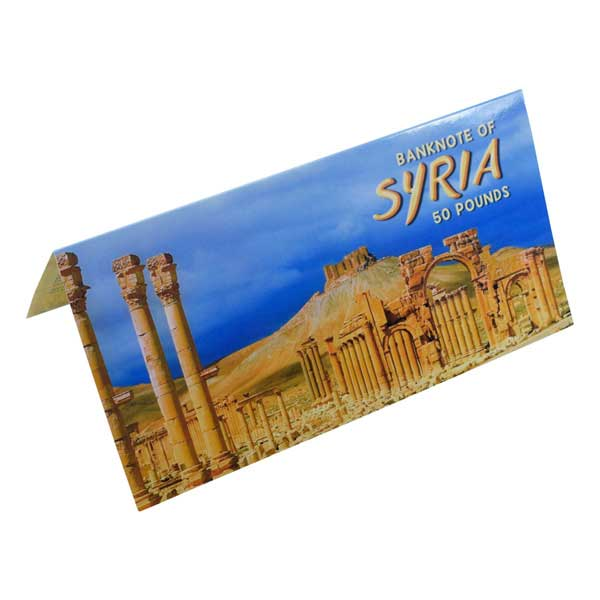 Syria 50 Pound Description Card With Original Banknote