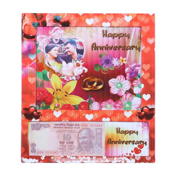 Personalized Table Photo Frame of Your Picture & Currency Note with Anniversary Date