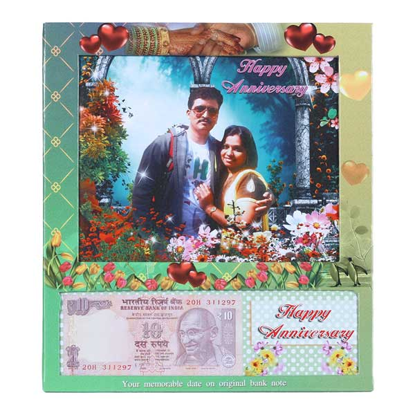 Table Photo Frame with Personalized Anniversary Date Currency Note and Picture