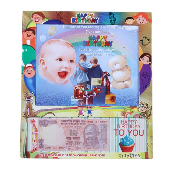 Table Photo Frame with Personalized Birth Date Currency Note and Picture