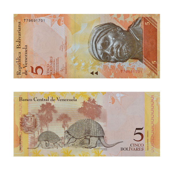 Venezuela Currency Note 5 Cinco Bolivares