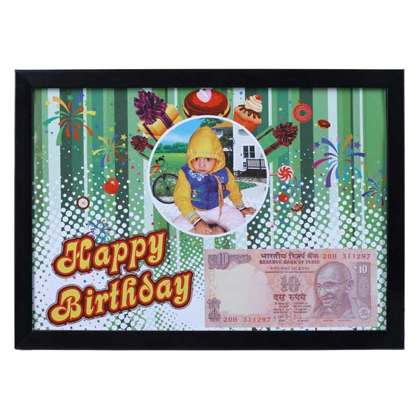 Wall Photo Frame with Personalized Birth Date Currency Note and Picture