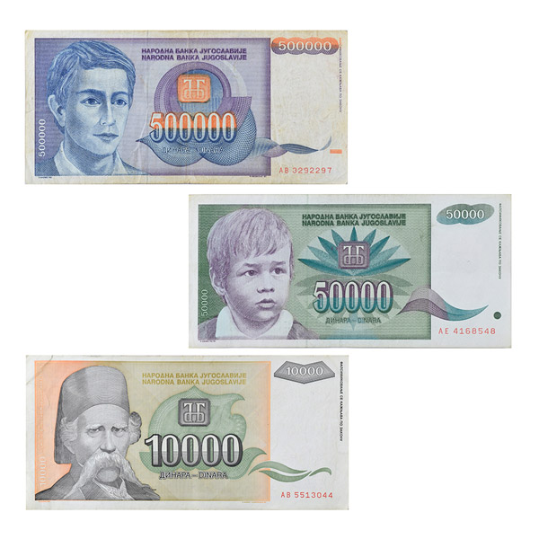 Set of 3 Yugoslav Dinar notes